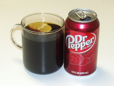 Hot Dr Pepper -- with lemon